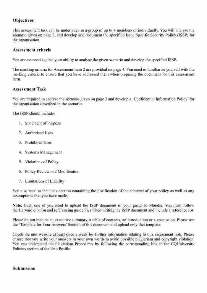 COIT20263 - Information Security Management (CQU Handbook) - IT-1