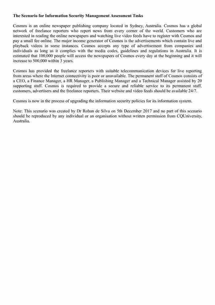COIT20263 - Information Security Management (CQU Handbook) - IT-2